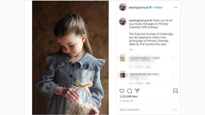 Kensington Royal membagikan potret Putri Charlotte di momen ulang tahunnya yang kelima pada Sabtu, 2 Mei 2020. (dok. Instagram @kensingtonroyal/https://www.instagram.com/p/B_rZClGl2gj/Putu Elmira)