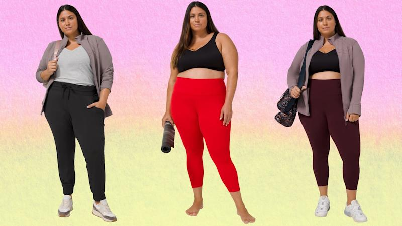 Lululemon announced it would be expanding sizes from 0-20 for six of the brand's core pieces. Images via Lululemon.