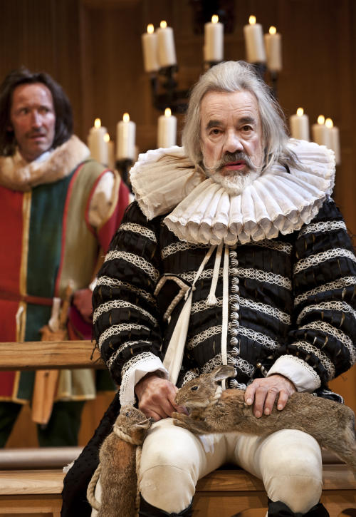 """In this image provided Monday Nov. 19, 2012 by Sonia Friedman Productions, Roger Lloyd Pack, as the character Sir Andrew Aguecheek, during a dress rehearsal in """"Twelfth Night"""" at a London theatre, Nov. 1,2012. Mark Rylance's latest London performances are hot tickets, and not just because he is one of Britain's leading Shakespearean actors. It's a chance to see him in two wildly contrasting roles, the scheming usurper dispatching everyone who stands between him and the throne in """"Richard III,"""" and the aloof countess Olivia, blindsided by love, in the boisterous comedy """"Twelfth Night."""" (AP Photo/Simon Annand, Sonia Friedman Productions)"""