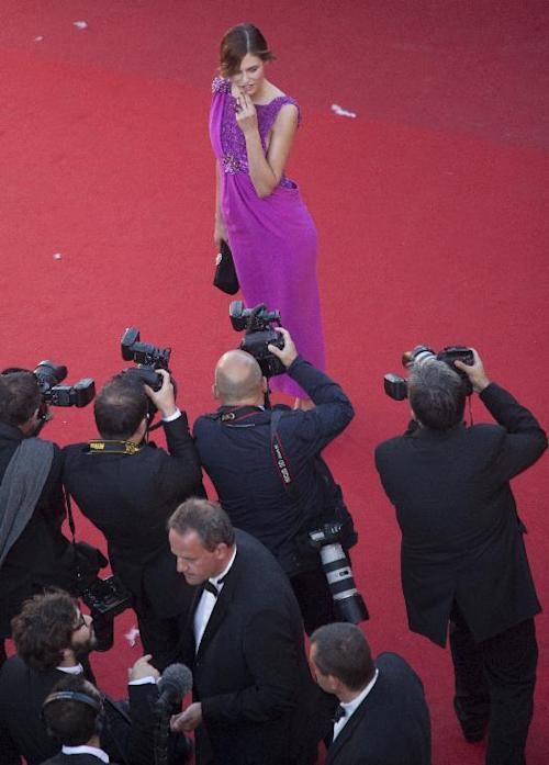 Model Bianca Balti poses for photographers as she arrives for the screening of The Immigrant at the 66th international film festival, in Cannes, southern France, Friday, May 24, 2013. (AP Photo/Virginia Mayo, Pool)