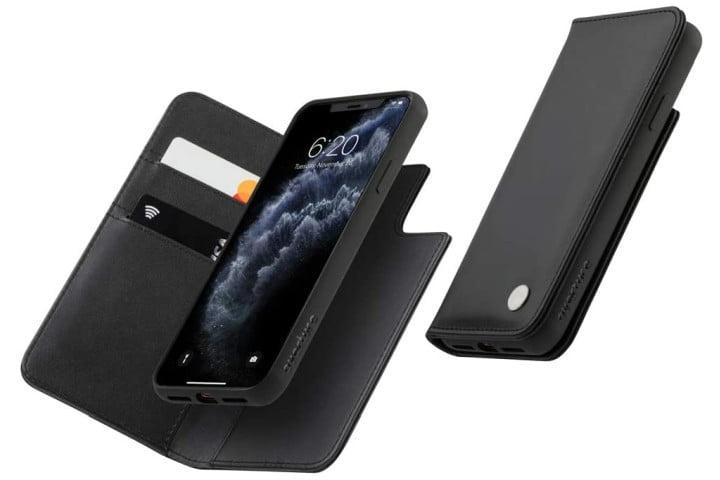 Photo shows the front view and inside view of a black Moshi Overture case with an iPhone 11 Pro inside