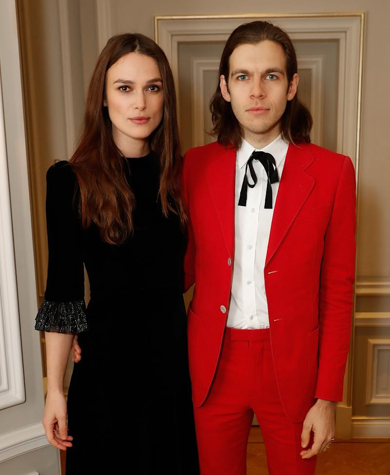 LONDON, ENGLAND - NOVEMBER 29: Keira Knightley and James Righton attend he mothers2mothers Winter Fundraiser, hosted by Salma Hayek Pinault and Francois-Henri Pinault. The dinner is in support of mothers2mothers' work to create a generation free from HIV. (Photo by David M. Benett/Dave Benett/Getty Images for mothers2mothers)