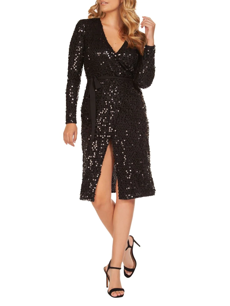 Occasion By Dex Sequin Midi Wrap Dress
