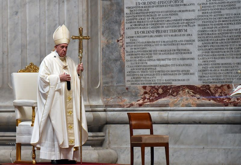 Pope Francis holds a Mass on Holy Thursday at the Vatican