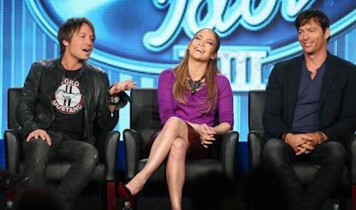Keith Urban, Jennifer Lopez, and Harry Connick, Jr., of the television show 'American Idol' speak during the FOX portion of the 2014 Television Critics Association Press Tour at the Langham Hotel on January 13, 2014 in Pasadena, Calif. -- Getty Images
