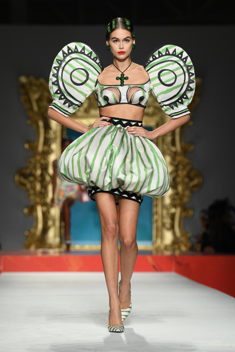 Kaia Gerber walks in the Moschino Milan Fashion Week 2020 fashion show