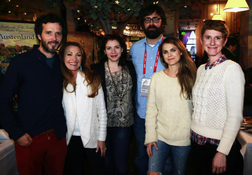 From left, Bret McKenzie, Jane Seymour, Stephanie Meyer, Jared Hess, Keri Russell and Jerusha Hess attend the Austenland party at Purple Sage during the Sundance Film Festival on Friday, Jan. 18, 2013, in Park City, Utah. (Photo by Benjamin Cohen/Invision/AP)