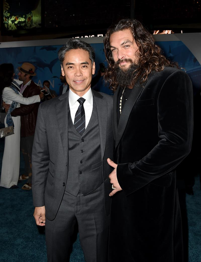 """LOS ANGELES, CA - DECEMBER 12: Walter Hamada (L) and Jason Momoa arribe at the premiere of Warner Bros. Pictures' """"Aquaman"""" at the Chinese Theatre on December 12, 2018 in Los Angeles, California. (Photo by Kevin Winter/Getty Images)"""