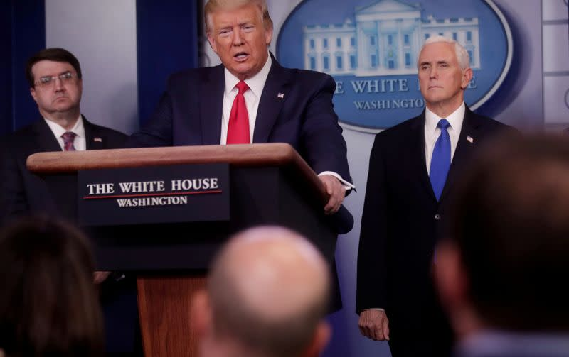 FILE PHOTO: U.S. President Trump speaks about coronavirus response at the White House in Washington