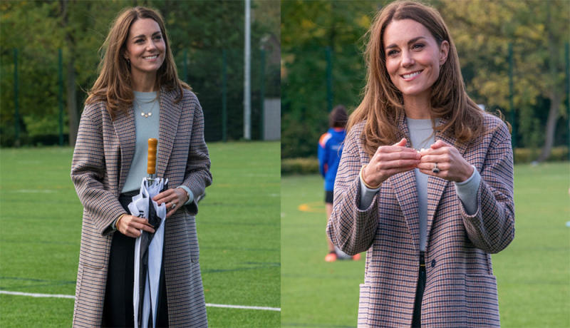 Kate Middleton wore a $399 gingham Massimo Dutti coat to visit the University of Derby. Image via Getty Images.