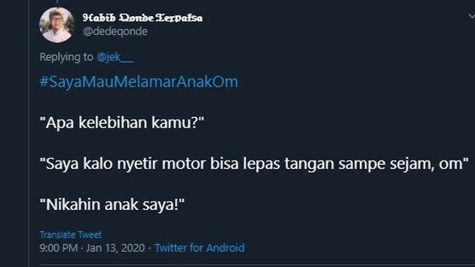 Modal nekat lamar anak orang (Sumber: Twitter/dedeqonde)