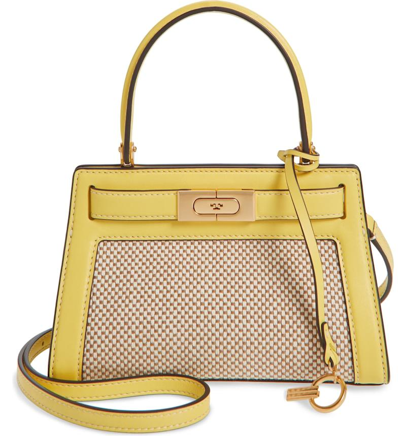 Small Lee Radziwill Canvas & Leather Bag in yellow.