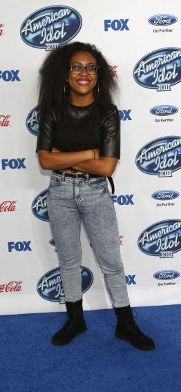 "Contestant Malaya Watson poses at the party for the finalists of ""American Idol XIII"" in West Hollywood"
