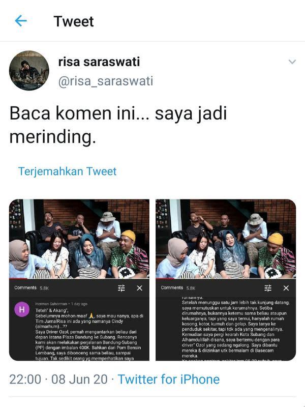 Unggahan Risa Saraswati. (Foto: Twitter @risa_saraswati)