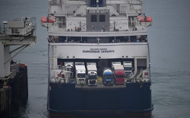 A DFDS ferry moors at the port of Dover in southeast England - Ben STANSALL / AFP