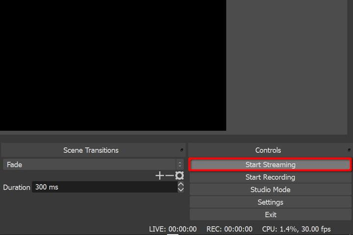 OBS Start Streaming Button