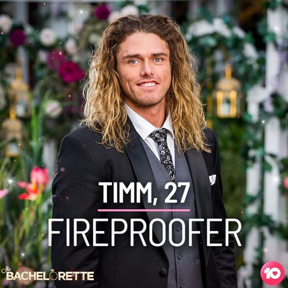 A photo of Timm wearing a black suit in episode one of The Bachelorette Australia 2019.