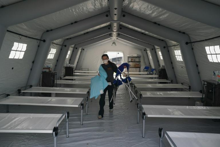 Volunteers set up an emergency field hospital in New York's Central Park