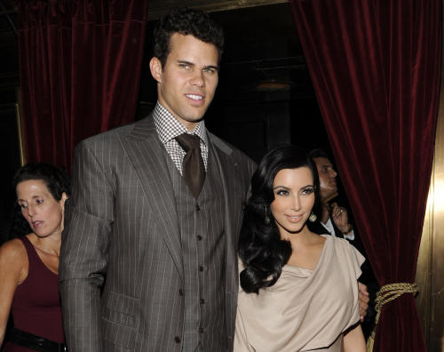 FILE - This Aug. 31, 2011 file photo shows newlyweds Kim Kardashian and Kris Humphries attending a party thrown in their honor at Capitale in New York. Kardashian appeared in a Los Angeles court on Friday April 12, 2013 for a mandatory settlement hearing in her divorce case from Humphries. Kardashian sat in the jury box before a judge called her case and sealed the hearing. (AP Photo/Evan Agostini, file)