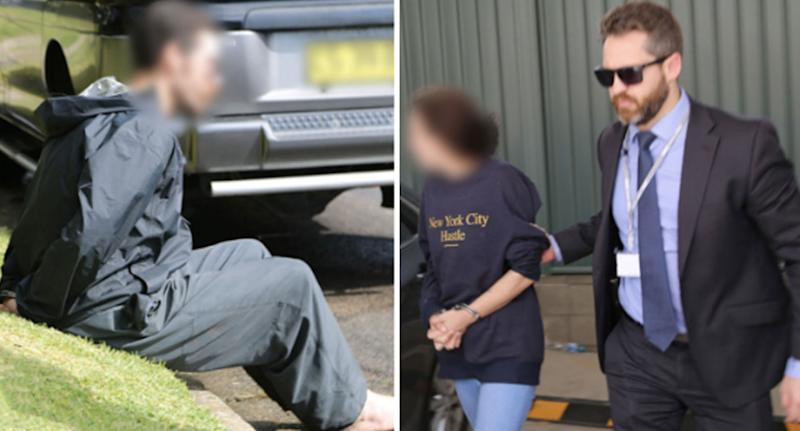 A man in handcuffs (left) is sitting on grass and a woman (right) is being led away with handcuffs by a police officer. The pair have been charged in relation to Danielle Easey's death.