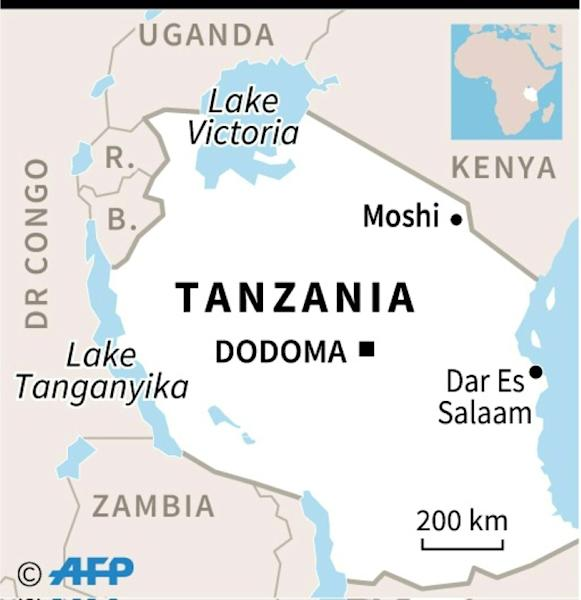 Map locating the town of Moshi in Tanzania where at number of people were killed in a stampede at an open-air church service, officials said Sunday