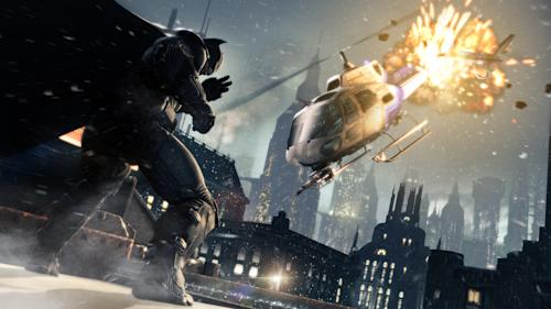 "FILE - This publicity photo released by Warner Bros. Interactive Entertainment shows a scene from the video game franchise ""Batman: Arkham Origins."" ""Origins,"" releasing worldwide on Oct. 25, 2013, is set several years before 2009's ""Arkham Asylum"" and its 2011 sequel ""Arkham City."" (AP Photo/Warner Bros. Interactive Entertainment, File)"