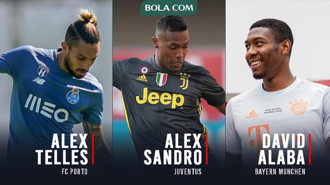 3 Pemain yang Bisa Jadi Alternatif Manchester United Gantikan Sergio Reguilon. Alex Telles, Alex Sandro, David Alaba. (Bola.com/Gregah Nurikhsani)
