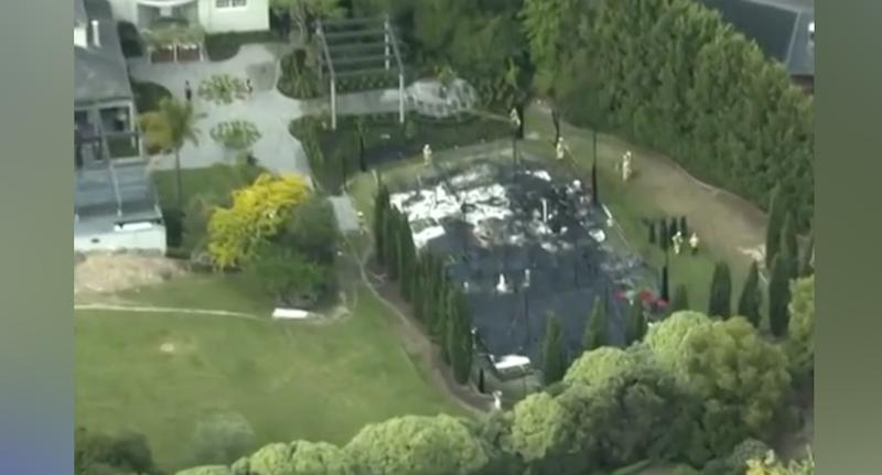 Aerial view of the wedding venue.