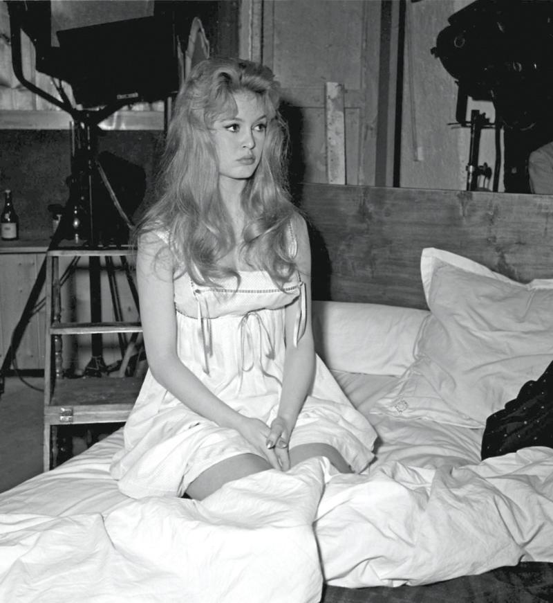brigitte bardot in white nightgown