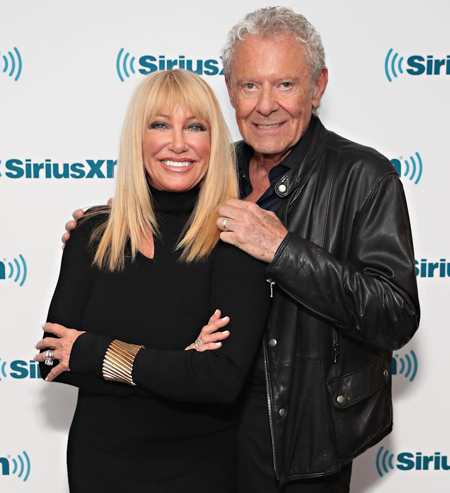 """The<em>Three's Company</em>actress told<em><a href=""""https://www.dailymail.co.uk/femail/article-7598551/Suzanne-Somers-73-says-takes-sex-shot-helps-make-love-twice-day.html"""">DailyMail.com</a></em>that thanks to supplements she and her husband Alan Hamel take, they are """"in the mood"""" for sex """"all the time.""""  Somers, who is 73, said, """"I'm kind of in that groove, like when you were younger and you're in the mood all the time, and so is he because he's on hormone replacements.""""  She also said that the pair have sex twice a day.  """"I usually say I sleep through one of them. That's usually that one at 4 o'clock in the morning,"""" she joked. """"But, you know, then again around 8 o'clock in the morning, I'm in the mood.""""  It would seem that their physical chemistry has been there from the start: Somers also revealed that she slept with her husband of 42 years on their first date """"just in case there wasn't a second one. I just wanted to be with him that first time."""""""