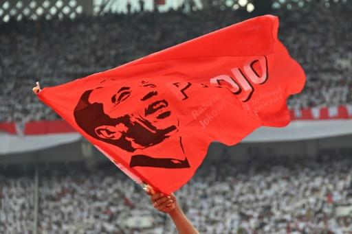 A supporter of incumbent Indonesian president Joko Widodo waves a flag bearing his portrait at an election rally in Jakarta