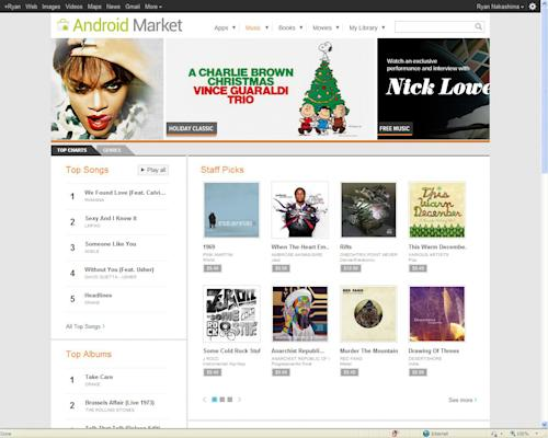 "This screen shot provided by Google.com, shows a page from Google Music. Google Music works best with an Android phone or tablet computer. You simply download the Google Music app to your device. Voila, your songs will be available for streaming. You can save songs for offline playback by ""pinning"" them with a digital push pin icon. (AP Photo.Google.com)"