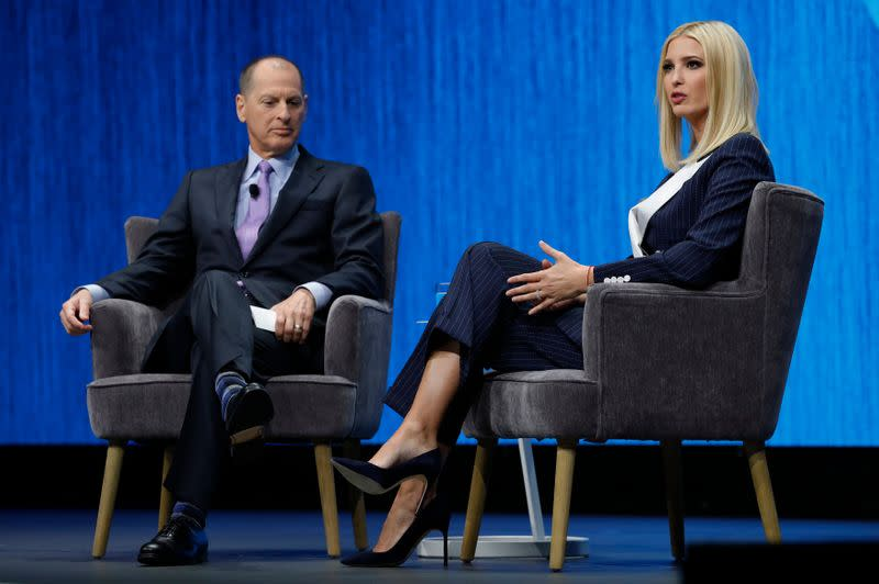 Ivanka Trump, daughter of President Donald Trump, speaks with Gary Shapiro, president and CEO of the Consumer Technology Association, in a keynote address during the 2020 CES in Las Vegas