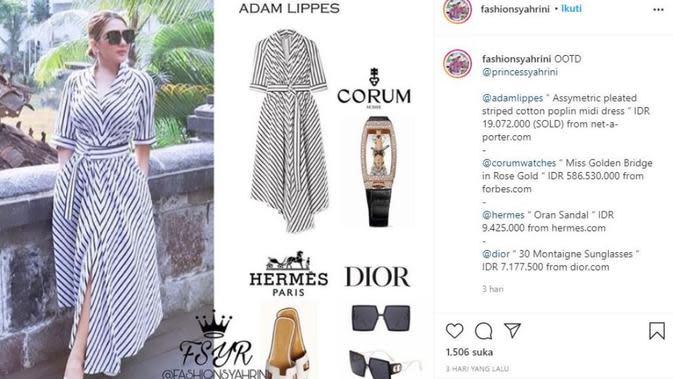 Syahrini dan Melania Trump Pakai Baju yang Sama. (dok.Instagram @fashionsyahrini/https://www.instagram.com/p/CFlYU5lHw9z/Henry)