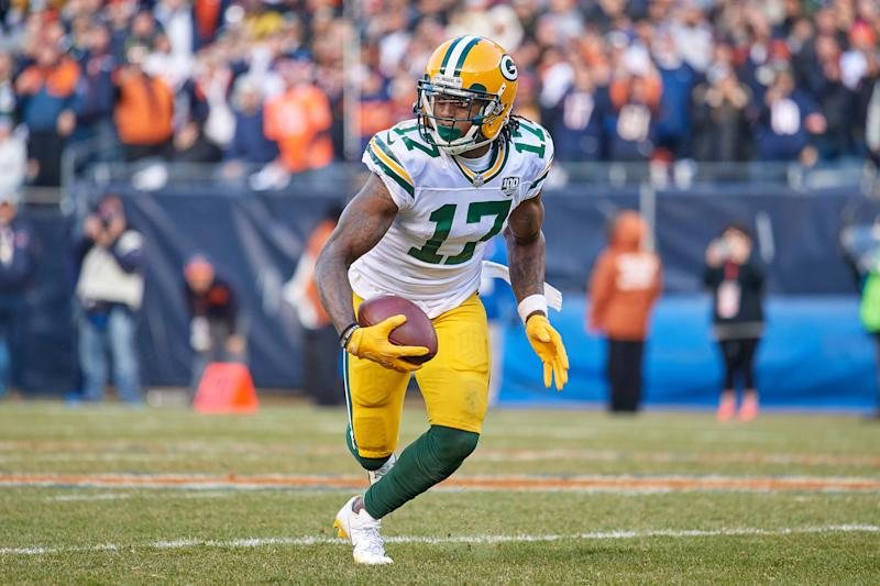 CHICAGO, IL - DECEMBER 16: Green Bay Packers wide receiver Davante Adams (17) runs with the football in action during an NFL game between the Green Bay Packers and the Chicago Bears on December 16, 2018 at Soldier Field in Chicago, IL. (Photo by Robin Alam/Icon Sportswire via Getty Images)