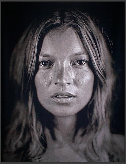 This image made available by Christie's auction house on Wednesday July 3, 2013 shows an image of British model Kate Moss, 'Kate', 2007 by Chuck Close. Few people have been photographed more often than Kate Moss, and some of the most famous images of the supermodel are going under the hammer at a Christie's auction in London on Sept. 25. (AP Photo/Christie's)