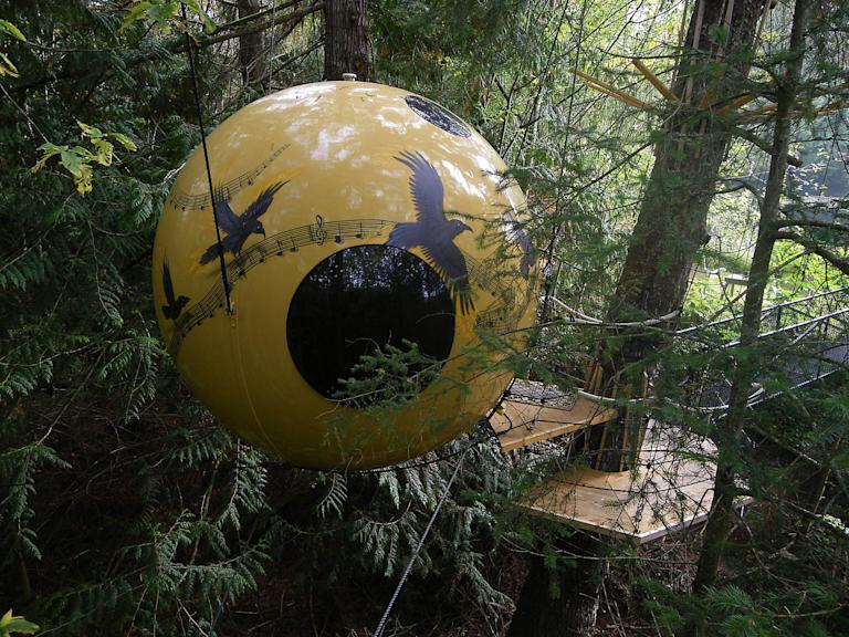 A Free Spirit Spheres treehouse is shown in Qualicum Beach on Vancouver Island in a handout photo. Climbing trees and building tree forts are common activities for kids, and often as kids grow up they give up their love for playing in the trees. Tom Chudleigh, on the other hand, has been building tree houses for 20 years.