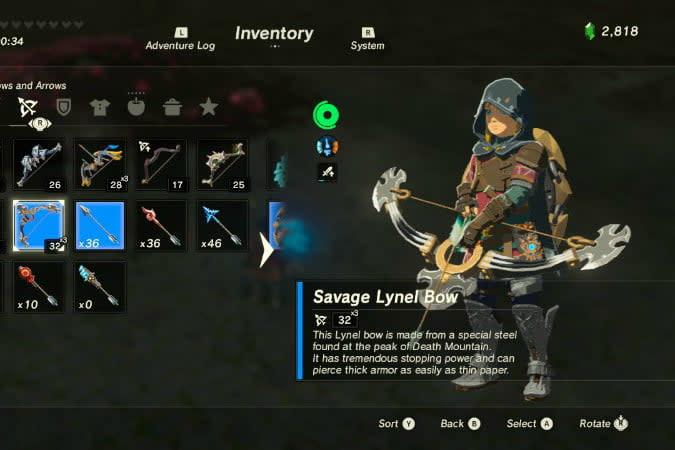 the legend of zelda breath wild best weapons lion bow