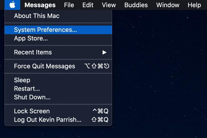 MacOS Open System Preferences