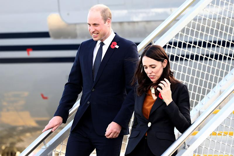 Britain's Prince William (L) arrives with New Zealand's Prime Minister Jacinda Ardern (R) at the Royal New Zealand Air Force (RNZAF) Air Movements Terminal in Christchurch on April 25, 2019. - Prince William paid tribute to Australian and New Zealand troops on April 25 at an emotional Anzac Day ceremony, six weeks after the Christchurch mosques massacre. (Photo by Hannah Peters / POOL / AFP) (Photo credit should read HANNAH PETERS/AFP/Getty Images)