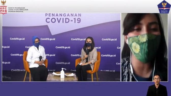 Made Rossalita Mirah Utami dalam siaran dialog dari Graha BNPB, Jakarta (Tangkapan Layar Youtube BNPB Indonesia)