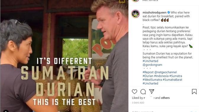 Gordon Ramsay di Sumatra. (Instagram/ misshotrodqueen oleh National Geographic)