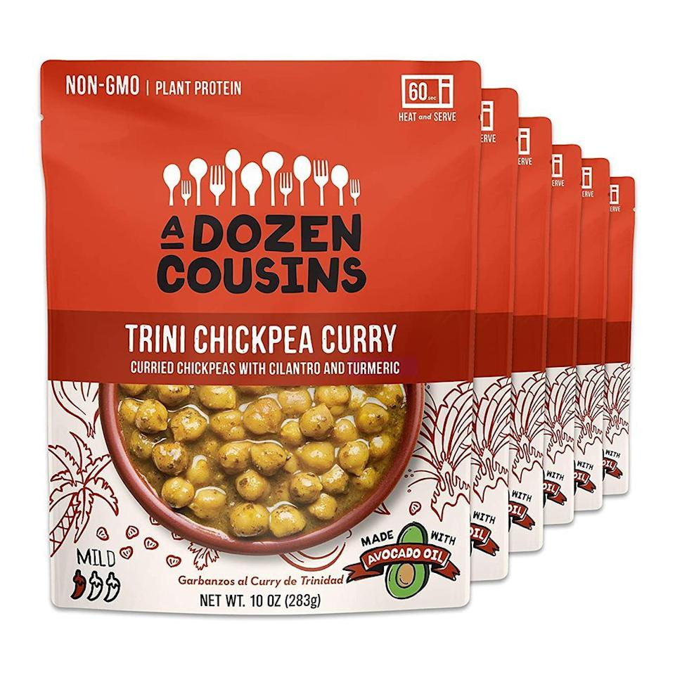 """<p><strong>A Dozen Cousins Meals</strong></p><p>amazon.com</p><p><strong>$24.99</strong></p><p><a href=""""https://www.amazon.com/dp/B07M959L1S?tag=syn-yahoo-20&ascsubtag=%5Bartid%7C2089.g.32783709%5Bsrc%7Cyahoo-us"""" target=""""_blank"""">Shop Now</a></p><p>Founded in 2019 by <a href=""""https://www.forbes.com/sites/robindschatz/2019/07/11/a-general-mills-alum-rethinks-the-humble-bean-with-diverse-flavorsand-a-social-mission/#5dfa61c43b5f"""" target=""""_blank"""">Ibraheem Basir</a> after years of working in the natural food space at General Mills, A Dozen Cousins brings much-needed cultural representation to the ready-to-eat meal space. Connecting the flavors and foods that he loved from his childhood, A Dozen Cousins provides healthy, ready-to-eat simmer sauces for quick weeknight meals that are all inspired by traditional Afro-Caribbean and Latin cuisines.</p><p>This Trini Chickpea Curry is one of our favorite simmer sauces from the lineup, loaded with flavorful curried garbanzo beans, turmeric, and cilantro. </p><p>A Dozen Cousins has also implemented a social impact mission and picks a new nonprofit to support each year. Last year, the brand partnered with <a href=""""https://sustainablefoodcenter.org/programs/the-happy-kitchen"""" target=""""_blank"""">The Happy Kitchen</a> (aka La Cocina Alegre) to sponsor two 6-week health and nutrition courses in the greater Austin area. </p>"""