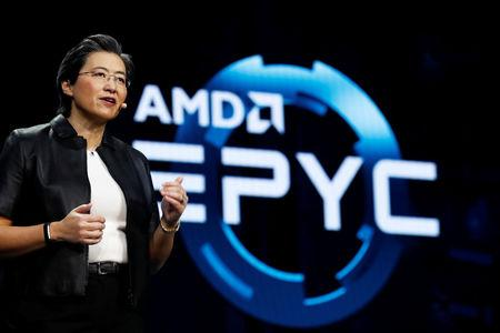Lisa Su, president and CEO of AMD, talks about the AMD EPYC processor during a keynote address at the 2019 CES in Las Vegas, Nevada, U.S., January 9, 2019. REUTERS/Steve Marcus