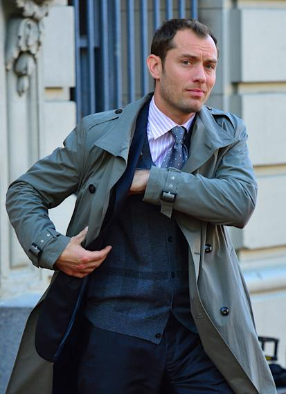 Jude Law sighted filming on location for 'The Bitter Pill' on April 19, 2012 in New York City.