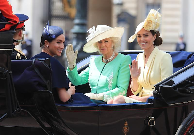 The Duke and Duchess of Sussex with the Duchess of Cambridge and the Duchess of Cornwall make their way along The Mall to Horse Guards Parade, in London, ahead of the Trooping the Colour ceremony, as The Queen celebrates her official birthday.