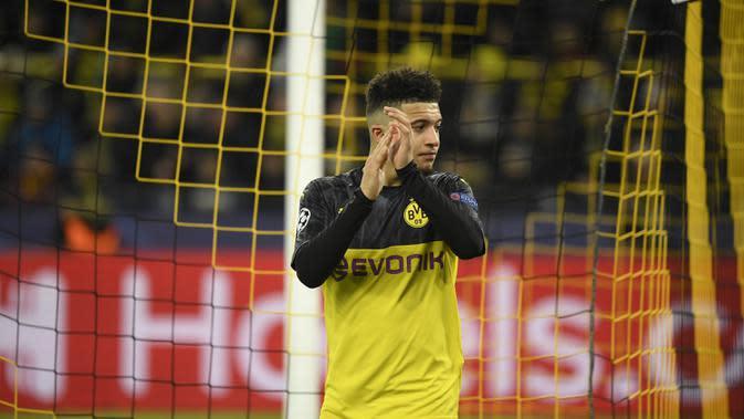 3. Jadon Sancho (17 gol) - Memasuki pekan ke-32, pemain asal Inggris ini telah mengkoleksi 17 gol bersama Borussia Dortmund di kompetisi Bundesliga musim 2019/2020. (AFP/Ina Fassbender)
