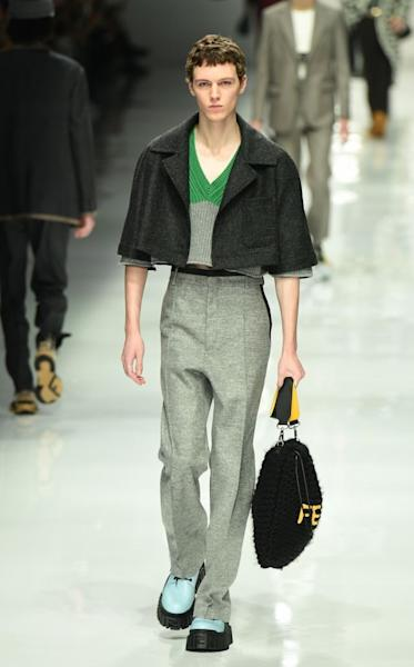 Fendi updated its codes with reworked versions of men's wardrobe classics for the 2020 fall-winter season. Milan, January 13, 2020