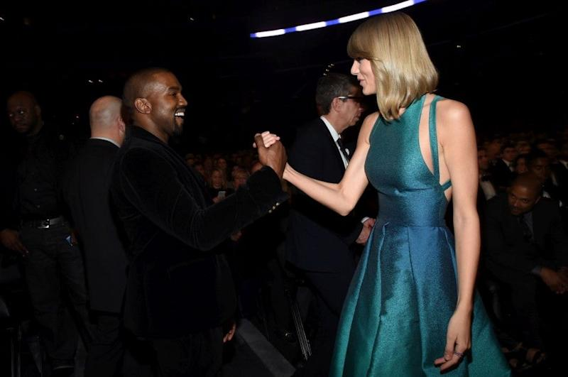 Taylor Swift and Kanye West 2015 GRAMMYs