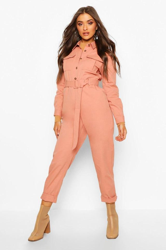 """<p>This <a href=""""https://www.popsugar.com/buy/Boohoo-Button-Front-Belted-Boiler-Suit-539038?p_name=Boohoo%20Button-Front%20Belted%20Boiler%20Suit&retailer=us.boohoo.com&pid=539038&price=25&evar1=fab%3Aus&evar9=45860055&evar98=https%3A%2F%2Fwww.popsugar.com%2Fphoto-gallery%2F45860055%2Fimage%2F47093386%2FBoohoo-Button-Front-Belted-Boiler-Suit&list1=shopping%2Cjumpsuits%2Cspring%20fashion%2Cwinter%20fashion&prop13=api&pdata=1"""" rel=""""nofollow"""" data-shoppable-link=""""1"""" target=""""_blank"""" class=""""ga-track"""" data-ga-category=""""Related"""" data-ga-label=""""https://us.boohoo.com/button-front-belted-boiler-suit/FZZ85828.html?color=158"""" data-ga-action=""""In-Line Links"""">Boohoo Button-Front Belted Boiler Suit </a> ($25, originally $62) is an amazing deal.</p>"""